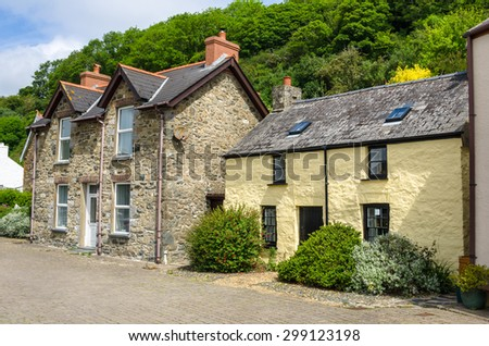 Renovated Cottages in a Fishing Village in Wales - stock photo