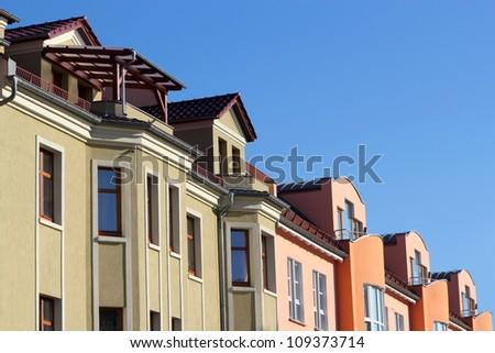 Renovated houses line - stock photo