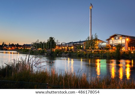 Renovated Old Industrial Riverside Buildings at Sunset in Bend, Oregon