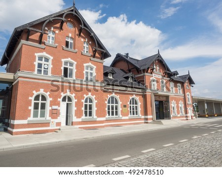 Renovated old train station in Wagrowiec, Poland