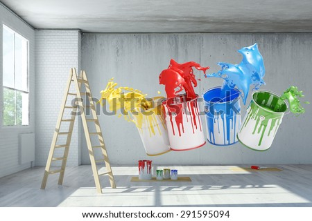 Renovation in an old loft with paint can color splashes (3D Rendering) - stock photo