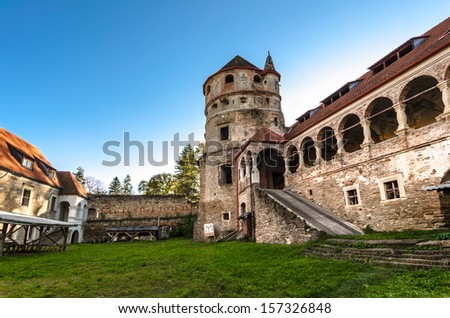 Renovation of an old castle - The Bethlen Castle, built between 14th-17th centuries. - stock photo