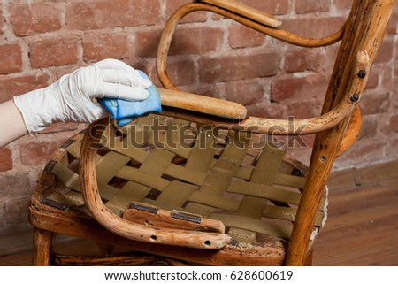 Renovation Of Old Furniture   An Old Wooden Armchair. We Polish The Old  Varnish And