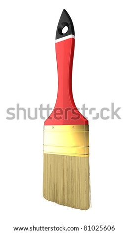 Renovation: red paintbrush isolated over white background