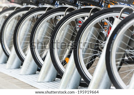 Rent a bike. Bike path with a symbol of bike, bike on a cycling path. - stock photo