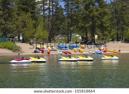 Rental equipment, water scooters and kayaks, Lake Tahoe CA. - stock photo