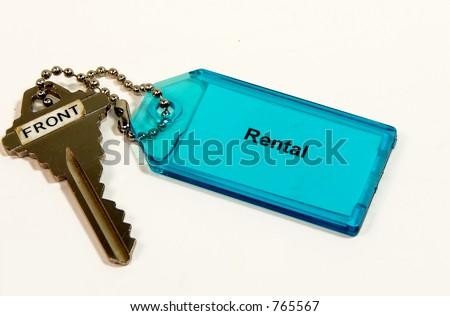 Rental Key isolated on white background - stock photo