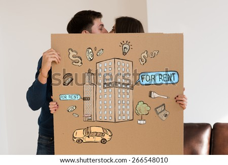 Renting and credit concept. Young couple planning their future - stock photo
