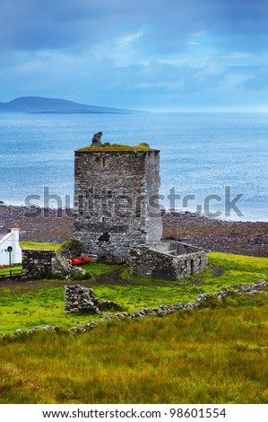 Renvyle castle in summer on a cloudy day, Co. Galway, Ireland. - stock photo