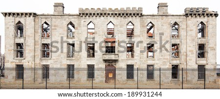 Renwick Smallpox Hospital, an abandoned hospital located in an otherwise undeveloped area at the southern tip of the Roosevelt Island in Manhattan, New York City - stock photo
