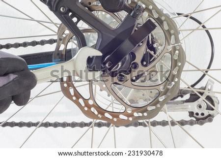 repair a bicycle - stock photo