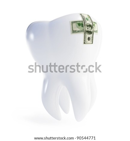repair a tooth patch on the dollar on a white background - stock photo
