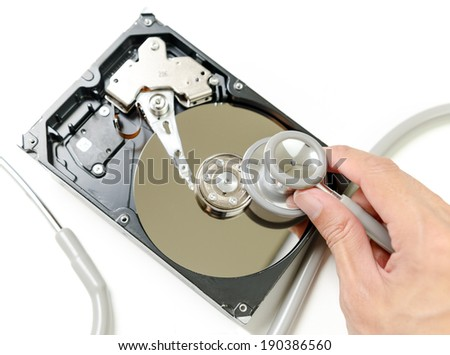 Repair and check hard disk problem - stock photo