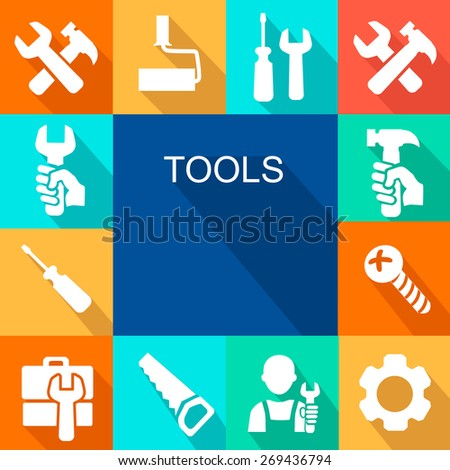 Repair and construction working tools icon background. - stock photo