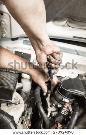 repair car , master engine parses - stock photo