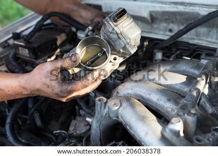 repair car of  master hand - stock photo