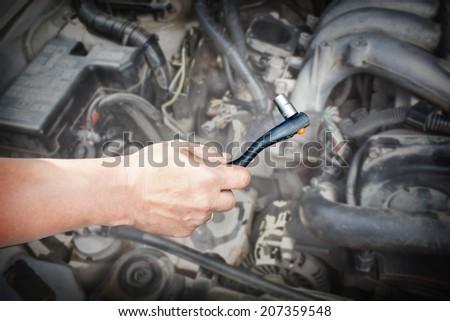 repair car of spark plug - stock photo