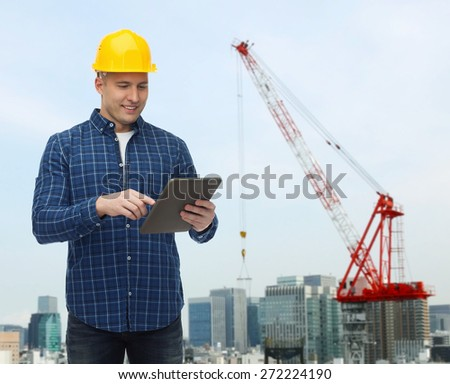 repair, construction, building, people and maintenance concept - smiling male builder or manual worker in helmet with tablet pc computer over city construction site background
