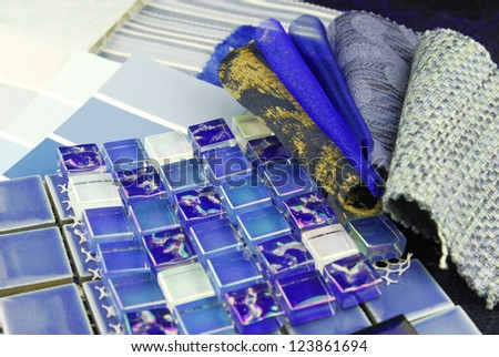repair decoration planning upholstery tiles tapestry color selection - stock photo