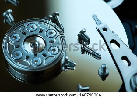 Repair hard disk close up - stock photo