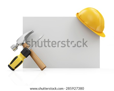 Repair, Industrial or Under Construction Concept. Screwdriver with a Claw Hammer with Yellow Construction Safety Helmet on a White Blank Board isolated on white background - stock photo