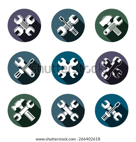 Repair instruments collection, 3d tools?? wrenches, adjustable wrenches and hammers. Construction idea simple objects, design elements. - stock photo
