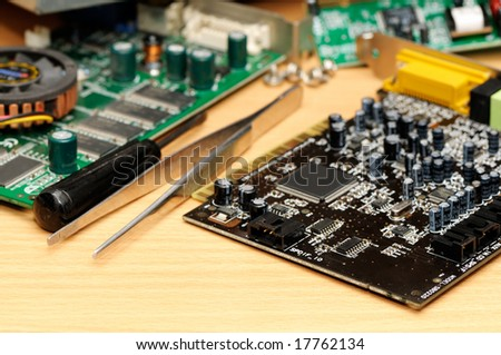 Repair of a computer - stock photo