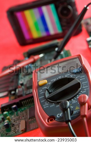 Repair of electronic equipment - stock photo