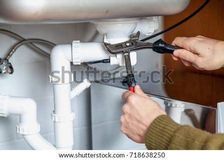 Closeup Male Plumber Repairing Sink Bathroom Stock Photo 382946095 ...