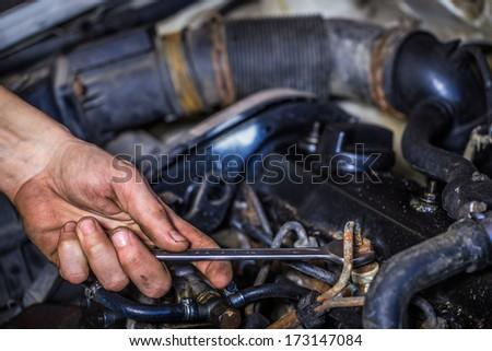 repair of motor car - stock photo