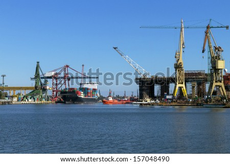 Repair of the oil rig in the shipyard in Gdansk in Poland - stock photo