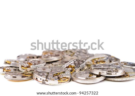 Repair of watches. Isolated on white background - stock photo