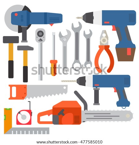 Repair tools and construction tools icons illustration