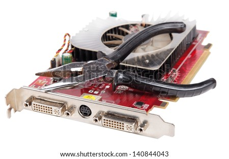 repair video card close-up, isolated background