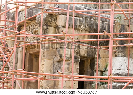 Repair work of PHANOMWAN Castle has more than 950 years and the fifth largest in Thailand..Nakhon Ratchasima, THAILAND - stock photo