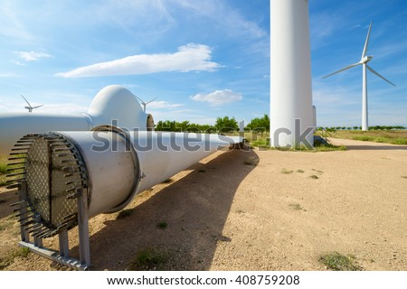Repair work on the propeller of a windmill, Zaragoza Province, Aragon, Spain. - stock photo