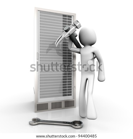 Repairing a Server tower. 3d rendered Illustration. Isolated on white. - stock photo