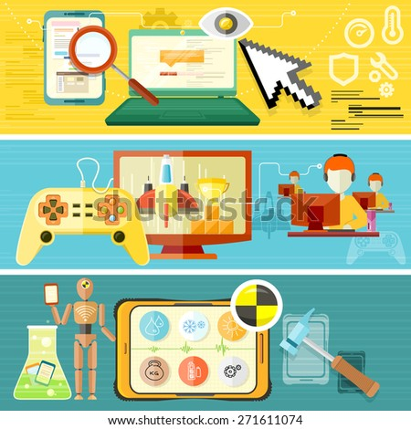 Repairing mobile phone concept. Crash test phones banner. Software testing concept. Testing video games. Mobile game test. Concept in flat design style. Raster version - stock photo