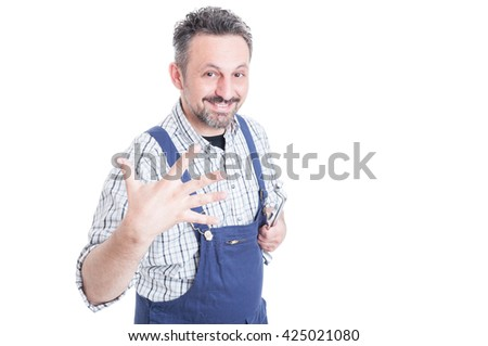 Repairman holding mechanical tools and showing five fingers or counting five with copyspace isolated on white - stock photo