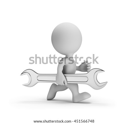 Repairman with a wrench in a hurry to help. 3d image. White background.