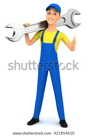 Repairman with a wrench on a white background. 3d rendered illustration.
