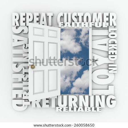 Repeat Customer words over an open door with words such as satisfied, loyal, trusting, returning, faithful and reliable - stock photo