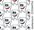 Repeat seamless pattern of happy healthy teeth with huge cheerful smiles in square format suitable for textile or wallpaper - stock photo
