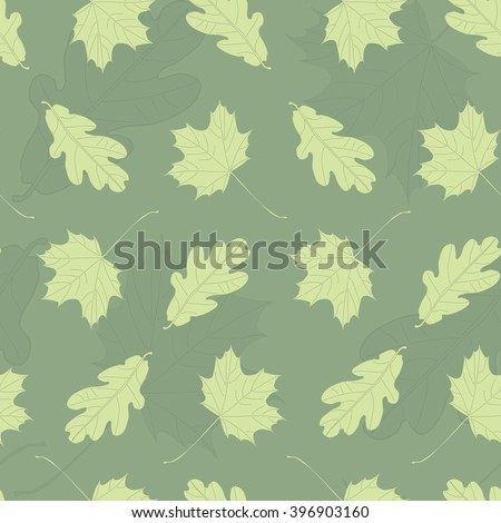 Repeatable green colored maple and oak leaves pattern background - stock photo