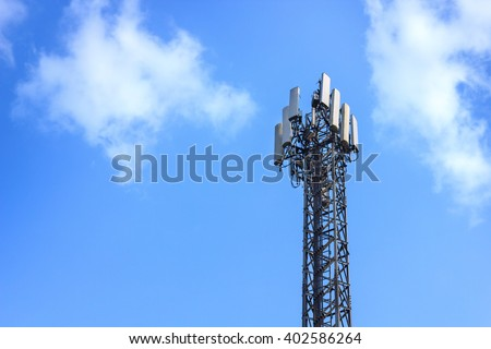 Repeater stations or Telecommunications tower in  blue sky - stock photo