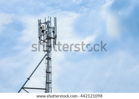 repeater telecommunication tower with blue sky - stock photo