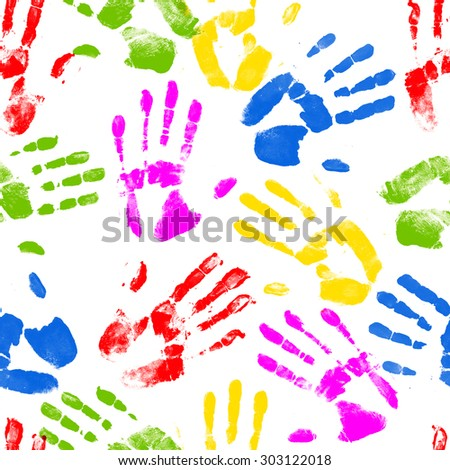 Repeating colorful hand print design - stock photo