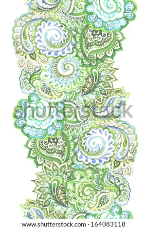 Repeating decorative spring strip with green swirly-paisley ornament - stock photo