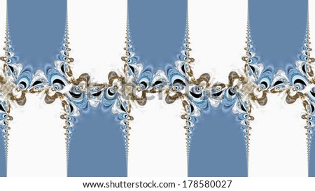Repeating pattern of twisting shapes on a blue and white background
