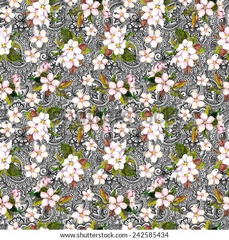 Repeating pattern with spring flowers and ethnic filigree ornament - stock photo